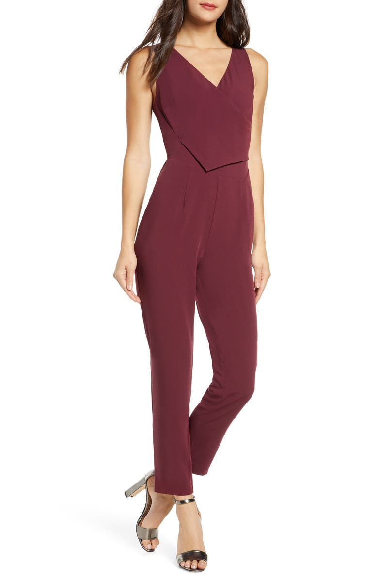 ALI & JAY Sleeveless Slim Leg Asymmetrical Jumpsuit, Main, color, FIG
