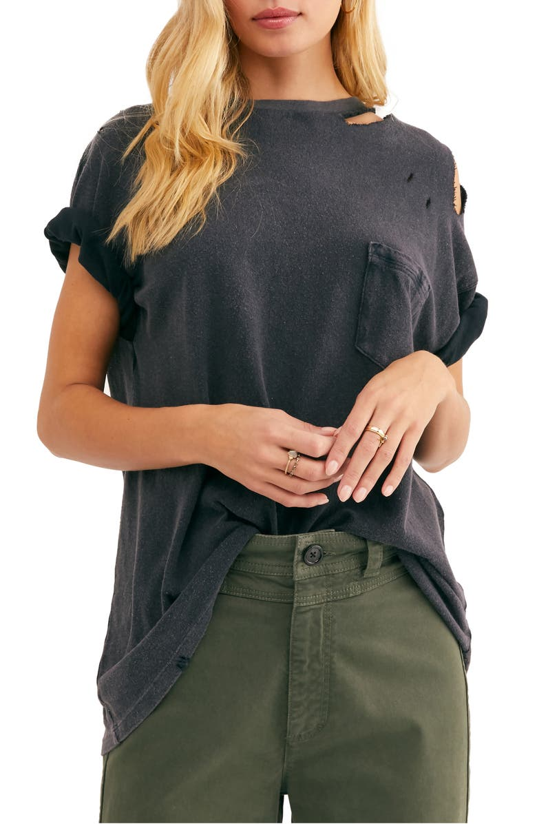 FREE PEOPLE Rubi Ripped Pocket T-Shirt, Main, color, WASHED BLACK