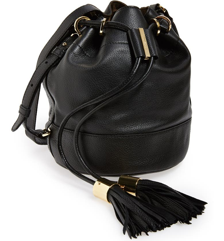 SEE BY CHLOÉ 'Small Vicki' Leather Bucket Bag, Main, color, 001