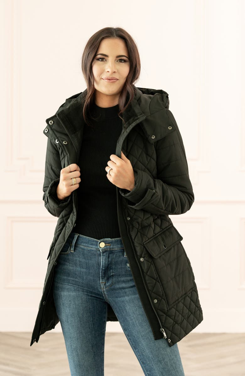 RACHEL PARCELL Quilted Hooded Parka, Main, color, 001