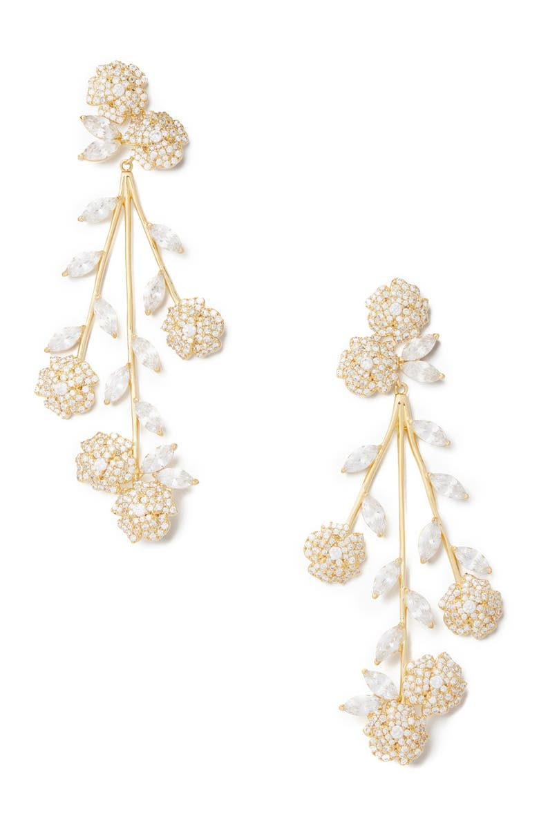 KATE SPADE NEW YORK CZ that special sparkle statement earrings, Main, color, CLEAR/GOLD