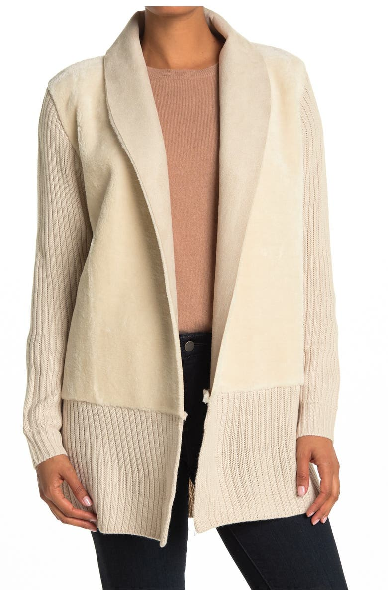 CENY Faux Suede Drape Cardigan Sweater, Main, color, A/S IVORY