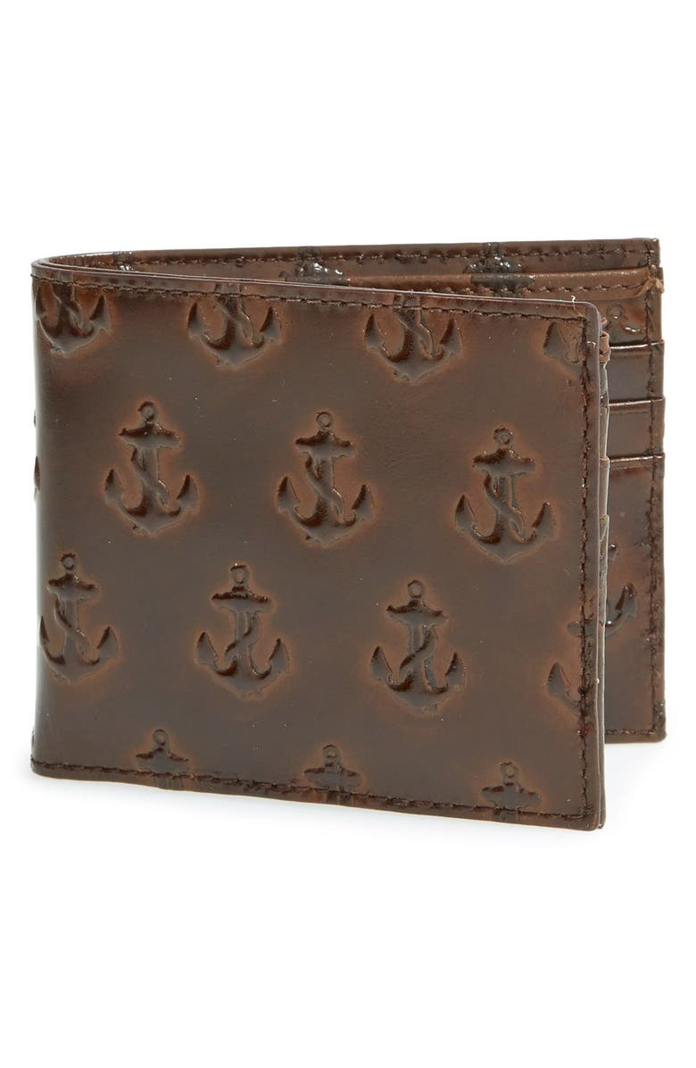 JACK SPADE Anchor Embossed Leather Wallet, Main, color, 215