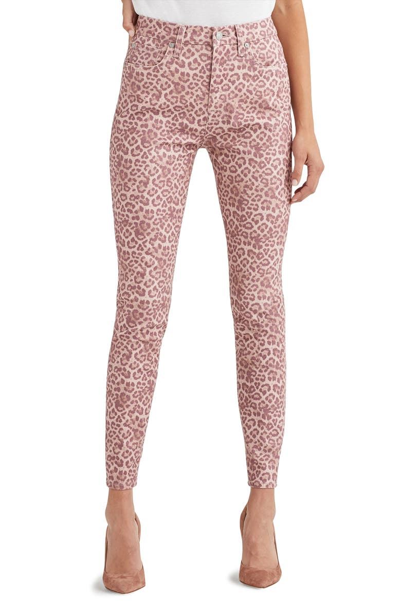 7 FOR ALL MANKIND <sup>®</sup> The High Waist Ankle Skinny Jeans, Main, color, COATED ROSE PHOTO LEOPARD