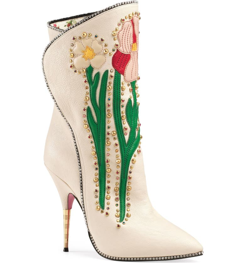 GUCCI Fosca Floral Embellished Pointy Toe Boot, Main, color, 108