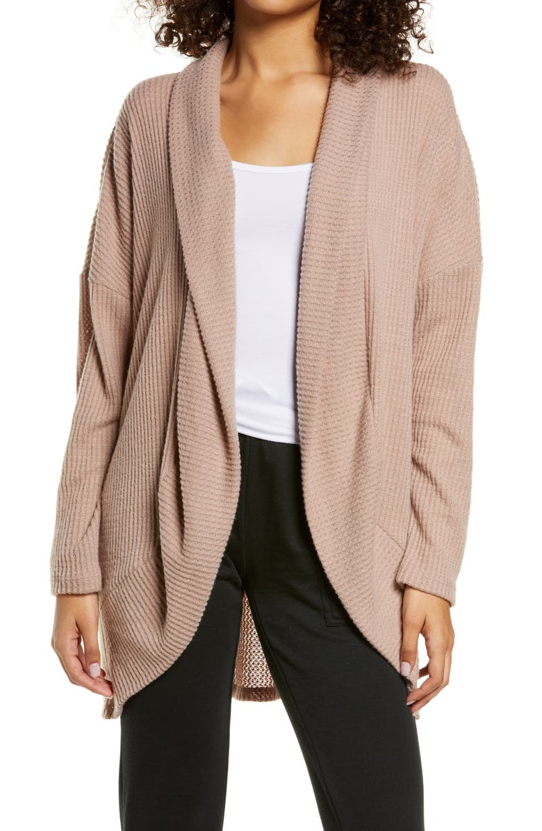 SOCIALITE Cocoon Waffle Knit Cardigan, Main, color, TAUPE