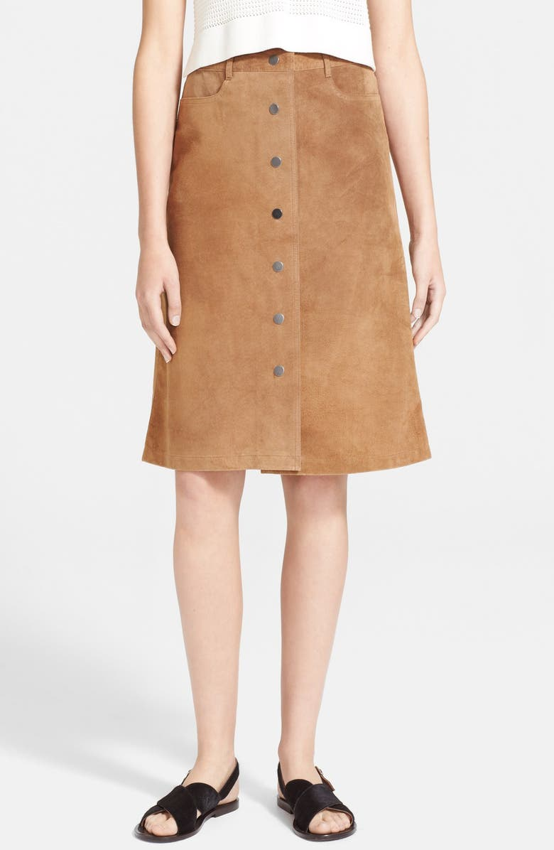 THEORY 'Pemma' Suede Midi Skirt, Main, color, 200