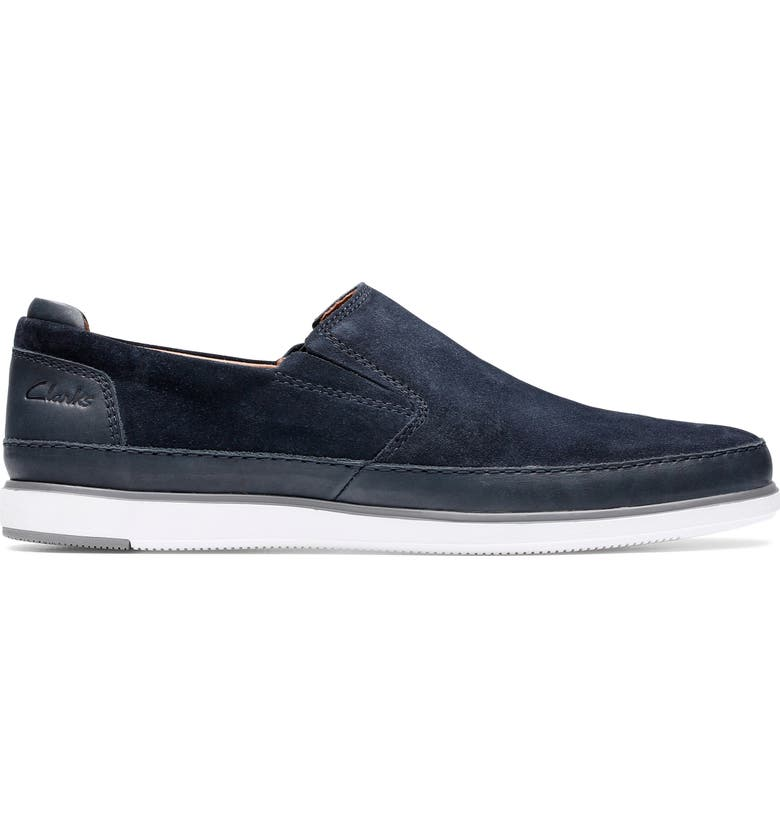 CLARKS<SUP>®</SUP> Bratton Step Slip-On Sneaker, Main, color, NAVY SUEDE/ LEATHER