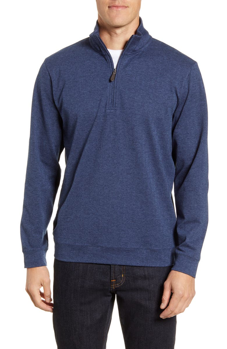 VINEYARD VINES Herringbone Half Zip Flannel Pullover, Main, color, VINEYARD NAVY