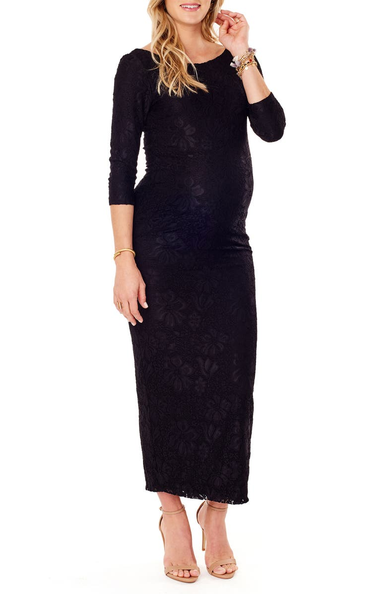 INGRID & ISABEL<SUP>®</SUP> Lace Column Maternity Maxi Dress, Main, color, 006