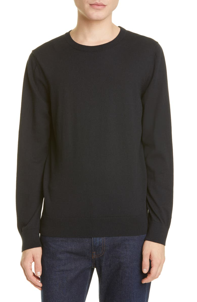 A.P.C. Pull Julien Solid Crewneck Sweater, Main, color, BLACK