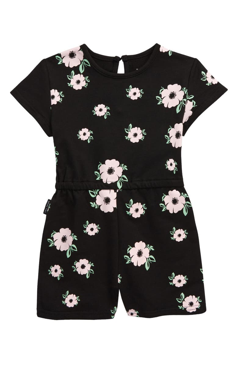 TINY TRIBE Kids' Poppy Ivy Floral Romper, Main, color, BLACK