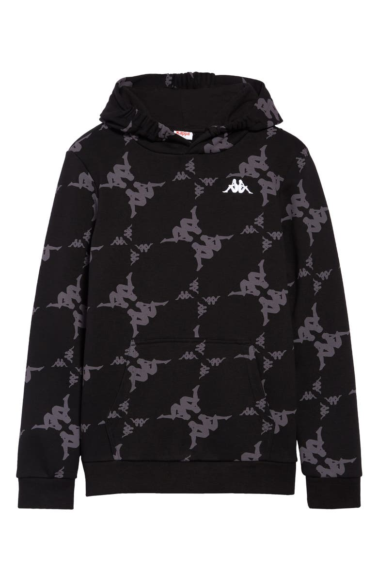 KAPPA Active Kids' Authentic Emaios Hoodie, Main, color, BLACK-GREY-WHITE