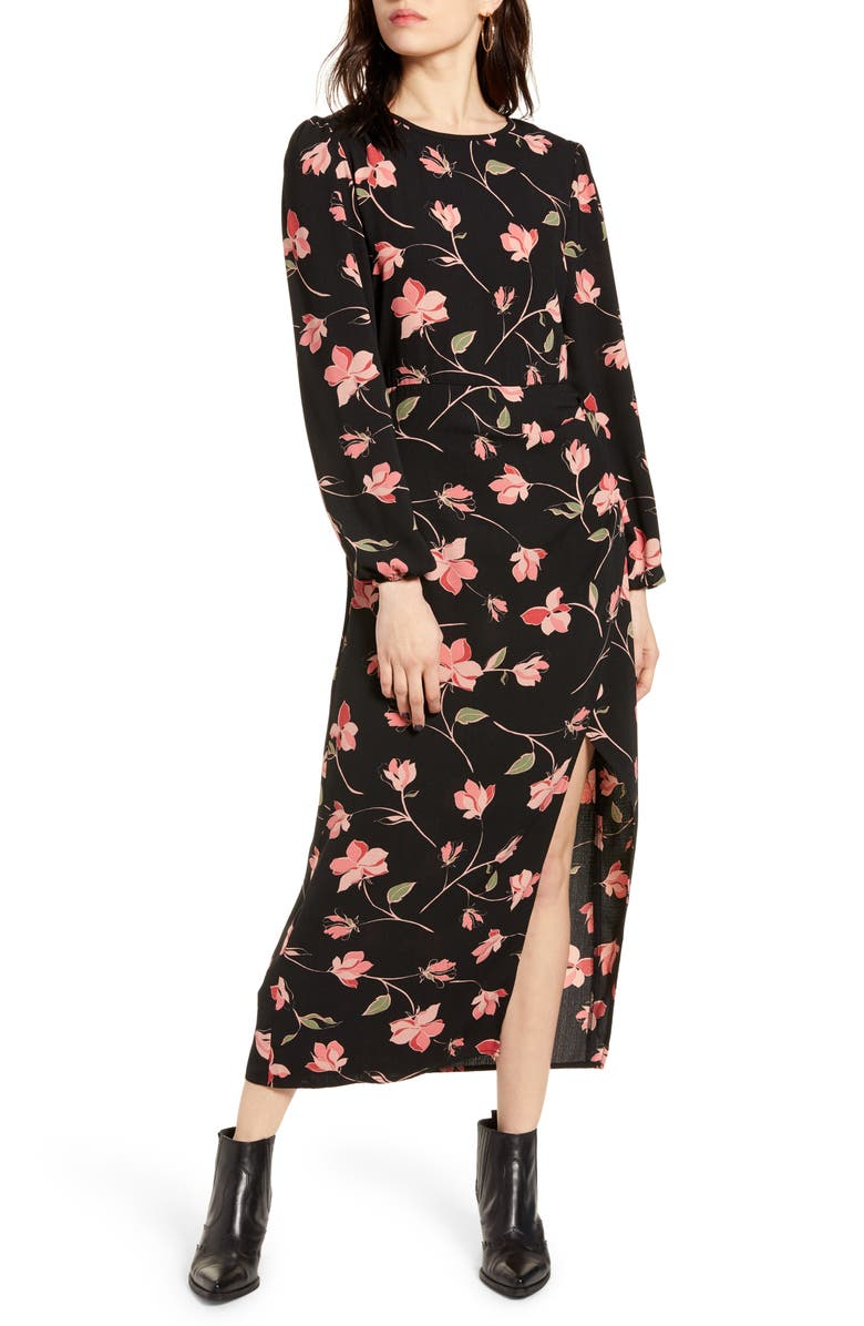 MINKPINK Magnetic Love Long Sleeve Midi Dress, Main, color, 001