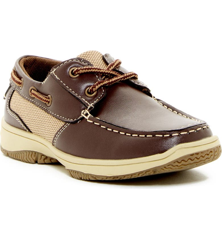 DEER STAGS Jay Lace-Up Boat Shoe, Main, color, DARK BROWN