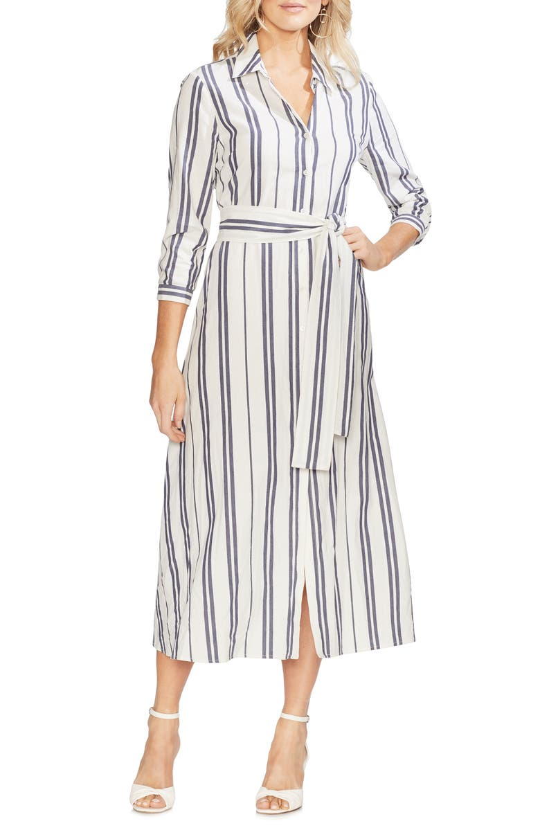 VINCE CAMUTO Valiant Stripe Midi Shirtdress, Main, color, 904
