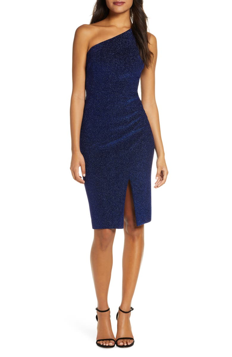 VINCE CAMUTO One-Shoulder Glitter Knit Body-Con Dress, Main, color, 420