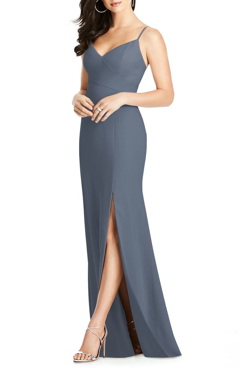 DESSY COLLECTION Crisscross Seam Crepe Gown, Main, color, 020