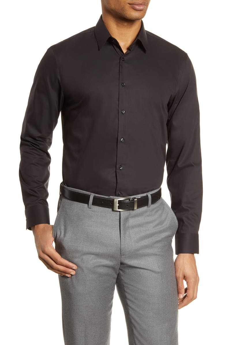 NORDSTROM MEN'S SHOP Nordstrom Extra Trim Fit Non-Iron Solid Stretch Dress Shirt, Main, color, BLACK