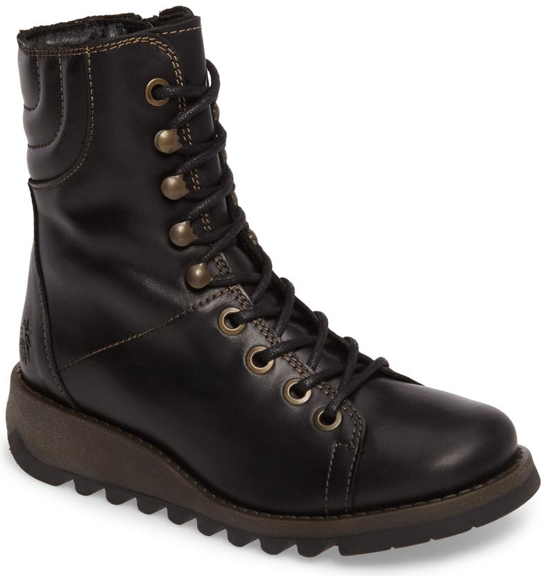 FLY LONDON Same Lace-Up Boot, Main, color, BLACK RUG LEATHER