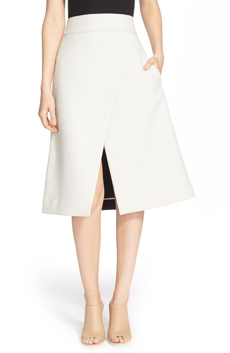 TIBI Faux Wrap A-Line Midi Skirt, Main, color, 900