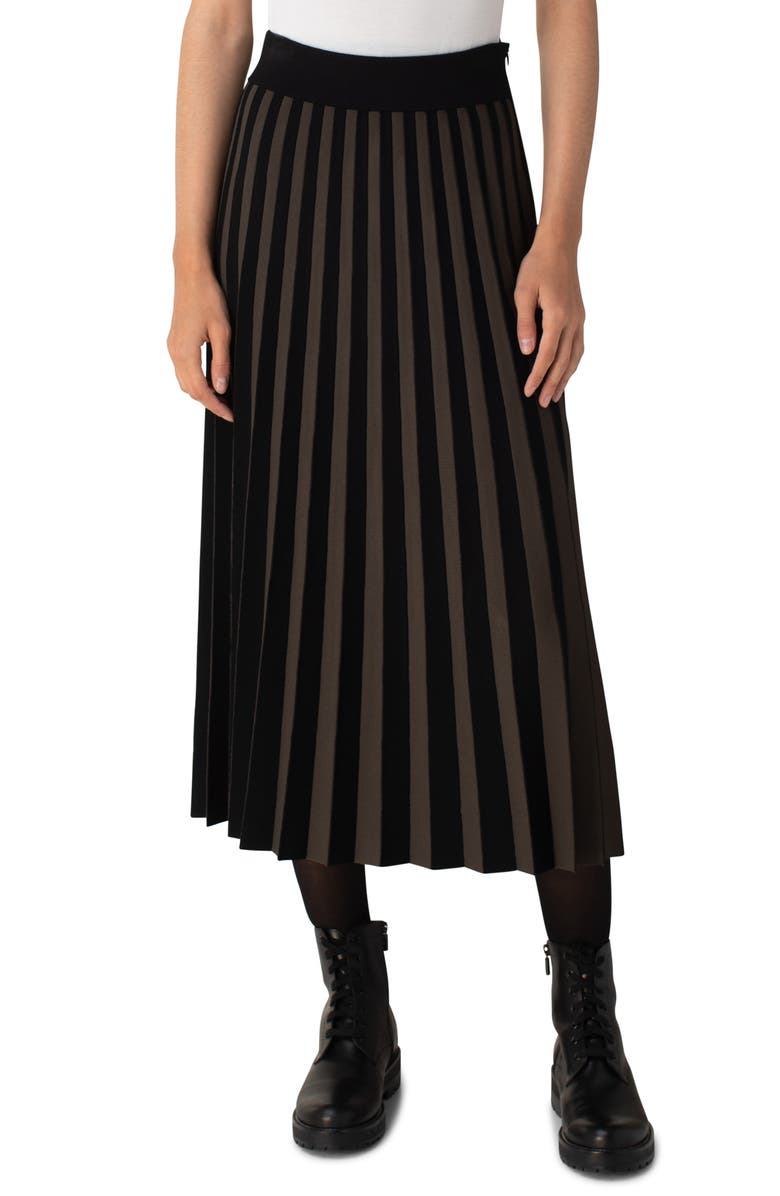 AKRIS PUNTO Kodak Stripe Pleated Skirt, Main, color, BAMBOO-BLACK