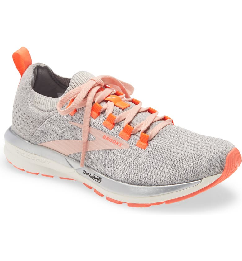BROOKS Ricochet 2 Running Shoe, Main, color, GREY/ ALLOY/ CORAL CLOUD