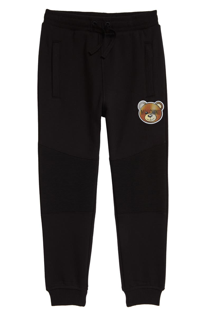 MOSCHINO Hologram Bear Patch Sweatpants, Main, color, BLACK