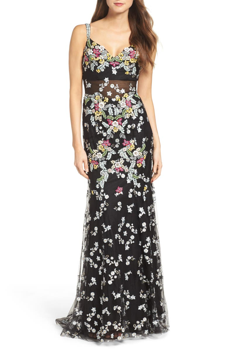 MAC DUGGAL Embroidered Mesh Gown, Main, color, 001
