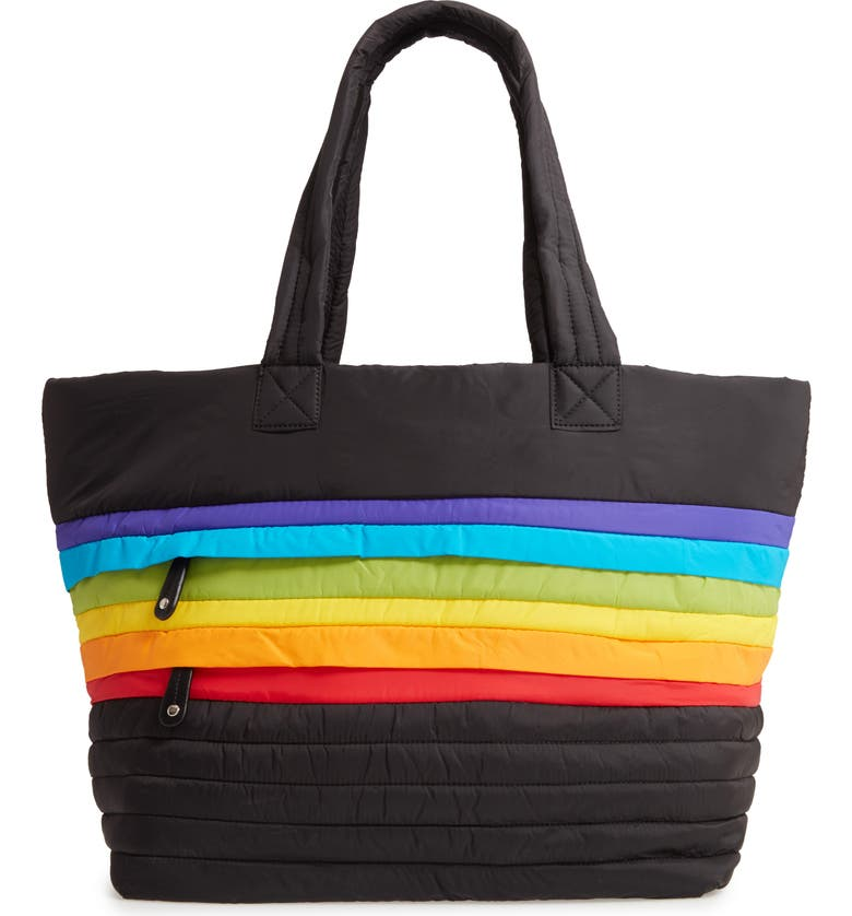 SONDRA ROBERTS Large Puffer Rainbow Tote, Main, color, 001