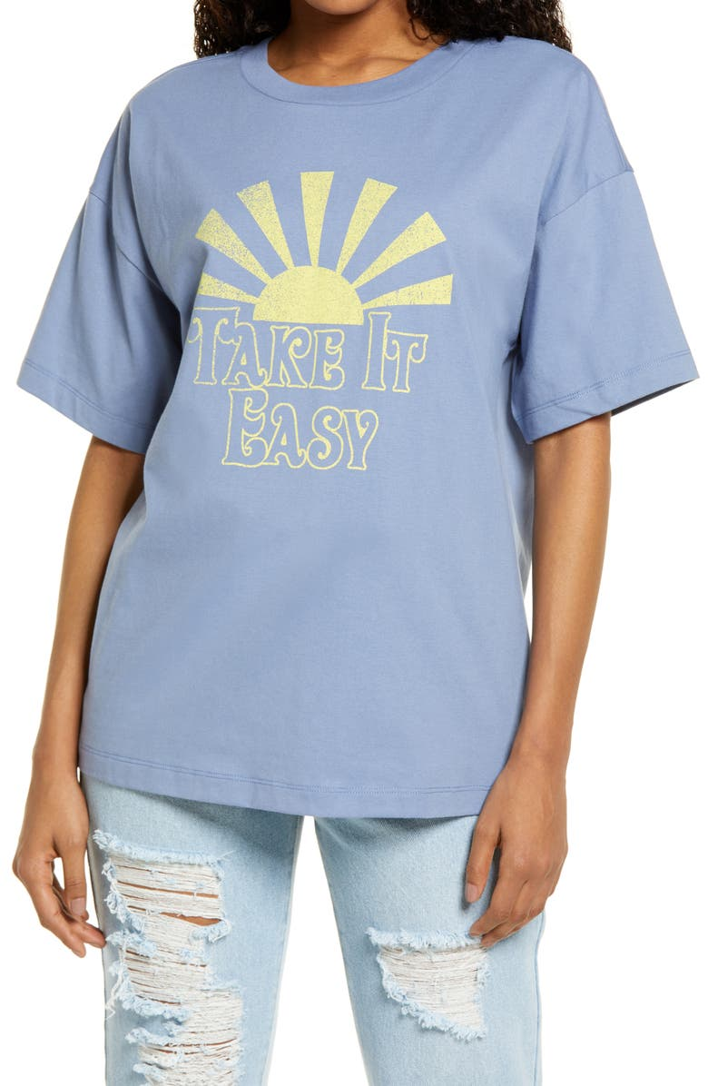 BP. Boxy Crop Graphic Tee, Main, color, BLUE TAKE IT EASY