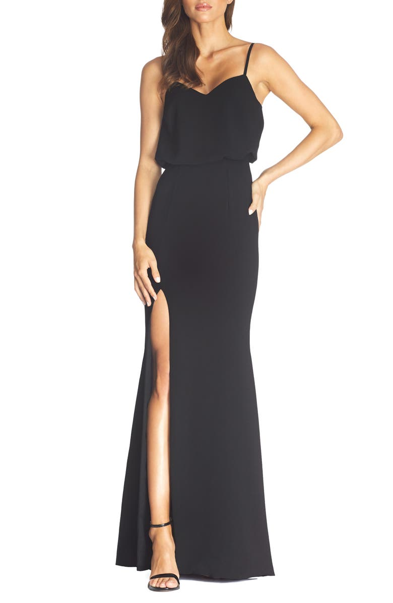 DRESS THE POPULATION Gracelyn Blouson Jersey Gown, Main, color, BLACK