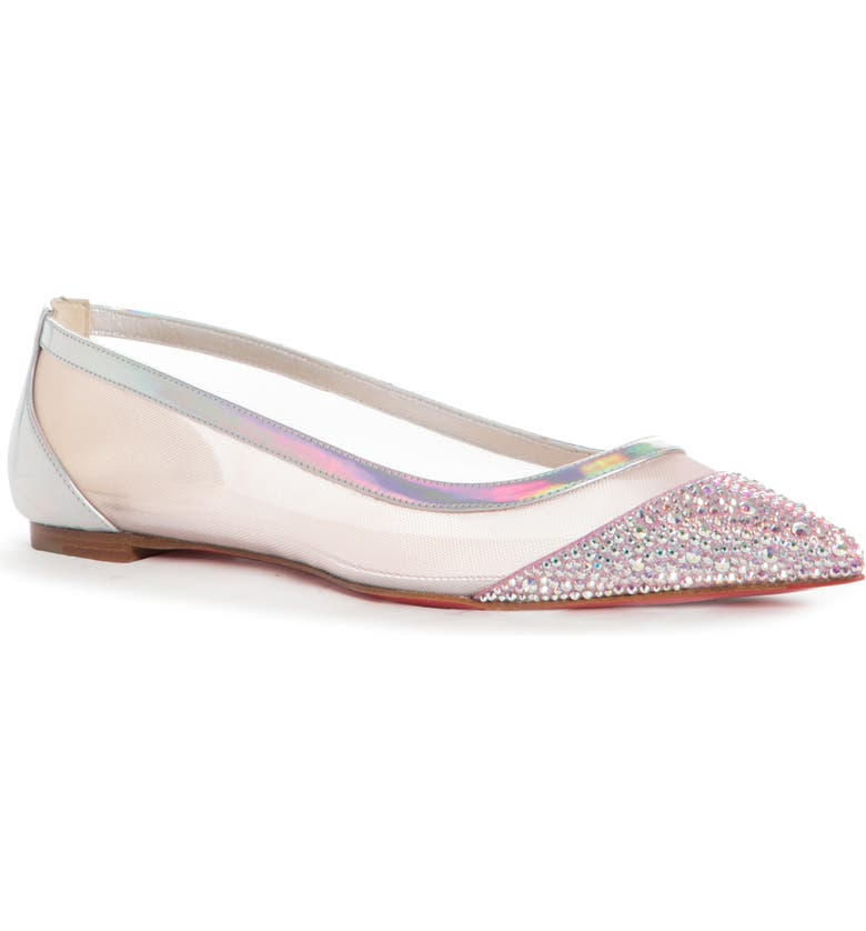 CHRISTIAN LOUBOUTIN Galativi Mesh Pointed Toe Flat, Main, color, ROSE