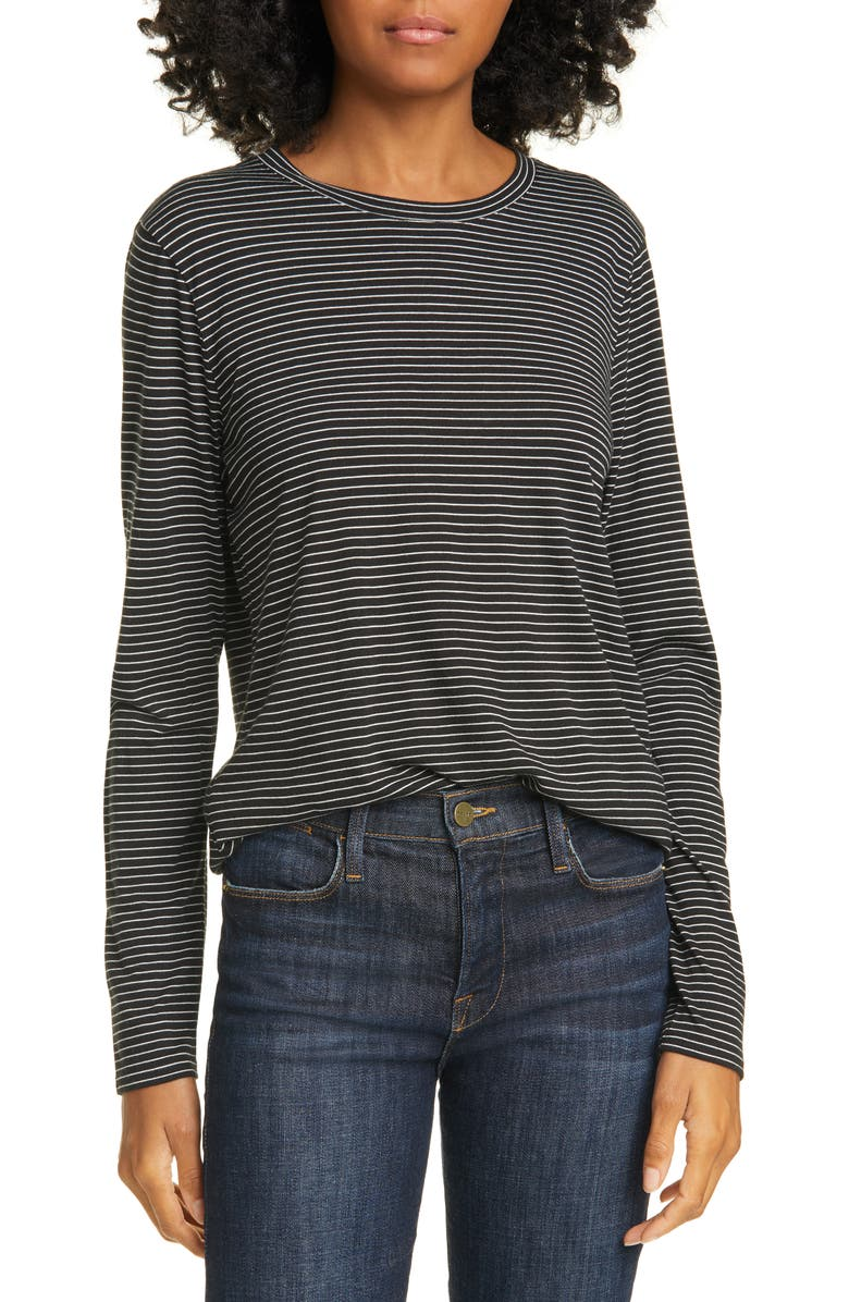 NORDSTROM SIGNATURE Stripe Long Sleeve Tee, Main, color, 001