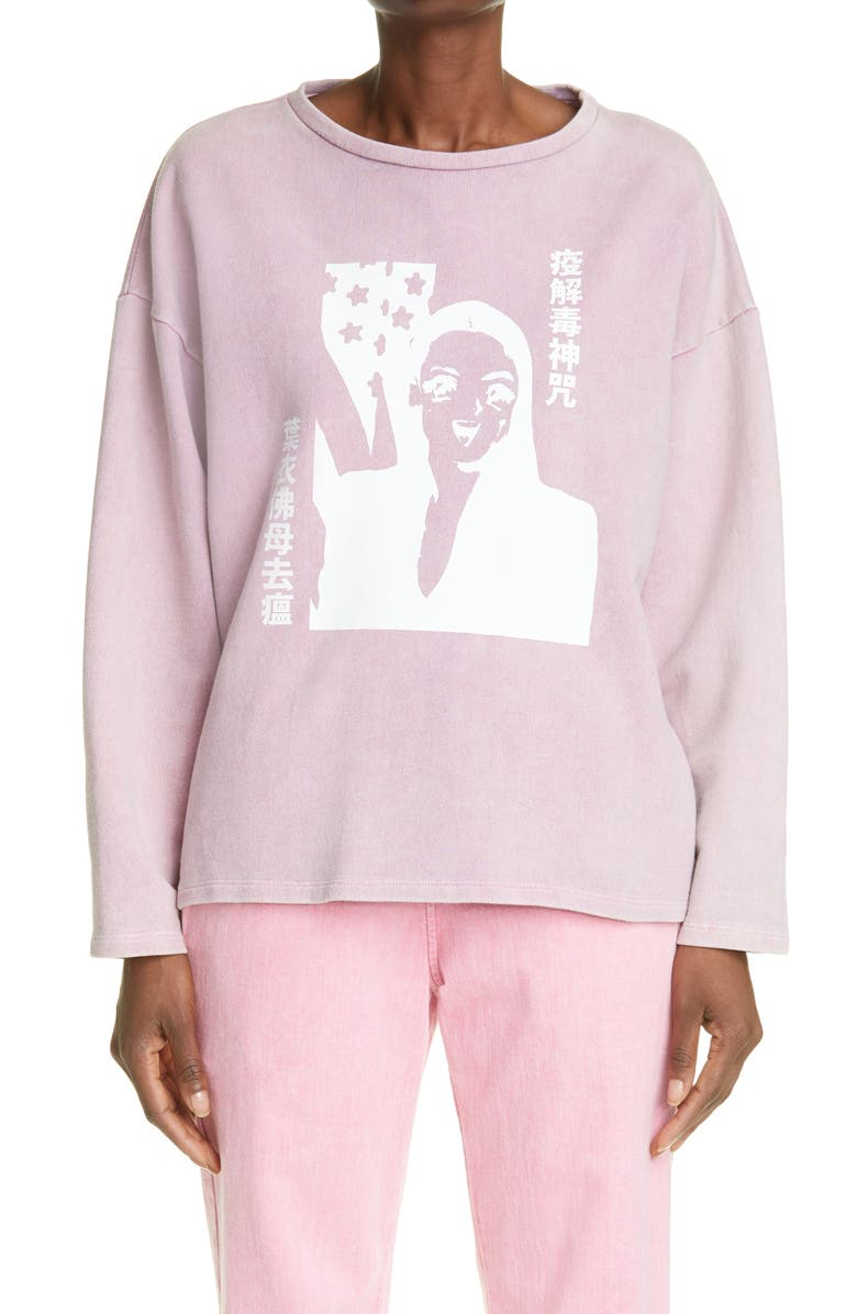 LIBERAL YOUTH MINISTRY Unisex Anime Graphic Sweatshirt, Main, color, ACID PINK