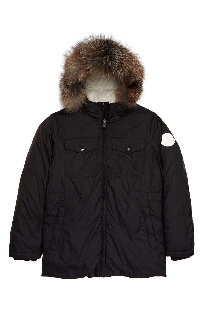 MONCLER Menue Down Raincoat with Genuine Fox Fur Trim, Main, color, Black