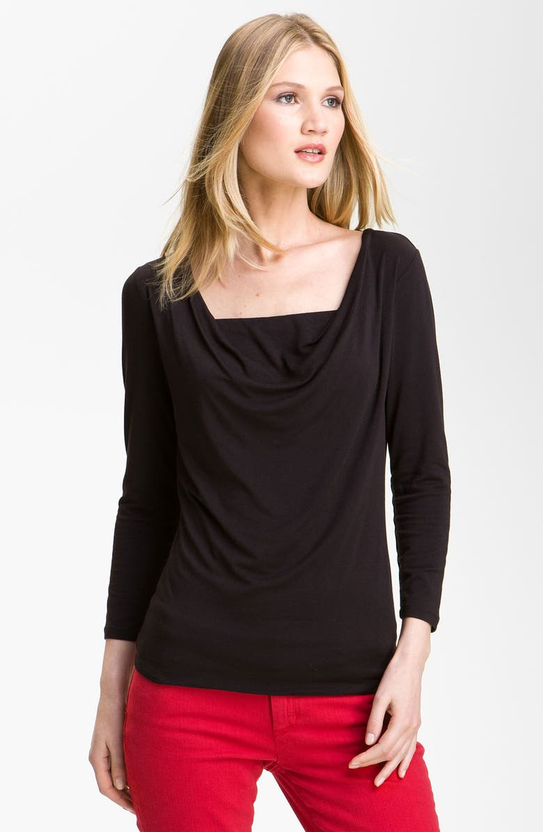 MICHAEL MICHAEL KORS Draped Tee, Main, color, 001