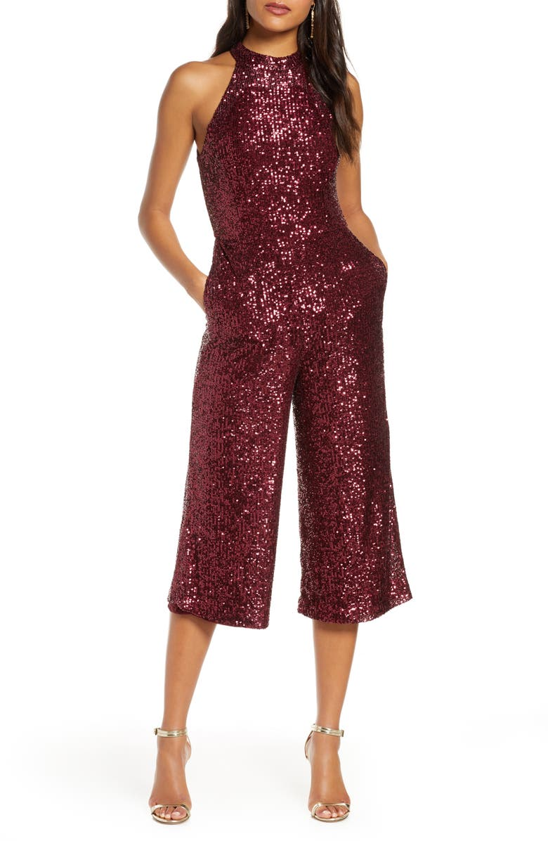 FOREST LILY Crop Sequin Jumpsuit, Main, color, RED