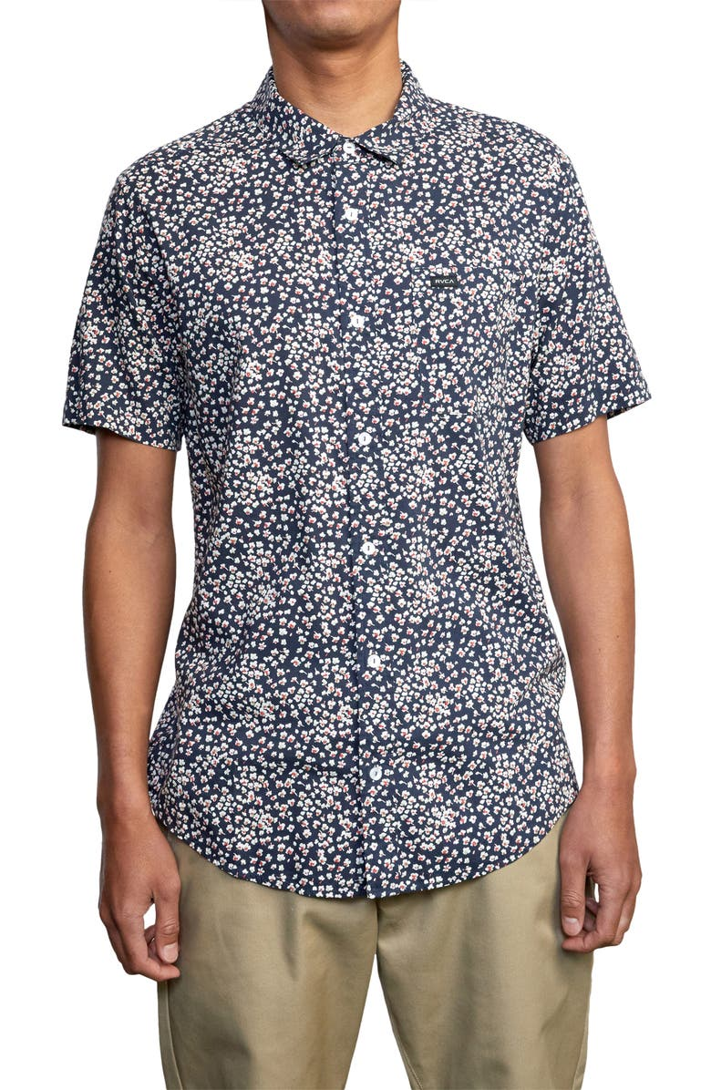 RVCA Bang On Floral Short Sleeve Button-Up Shirt, Main, color, MOODY BLUE