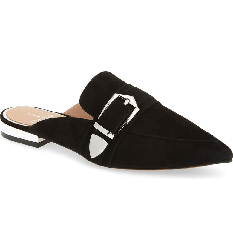 LINEA PAOLO Ace Buckle Pointed Toe Mule, Main, color, BLACK SUEDE