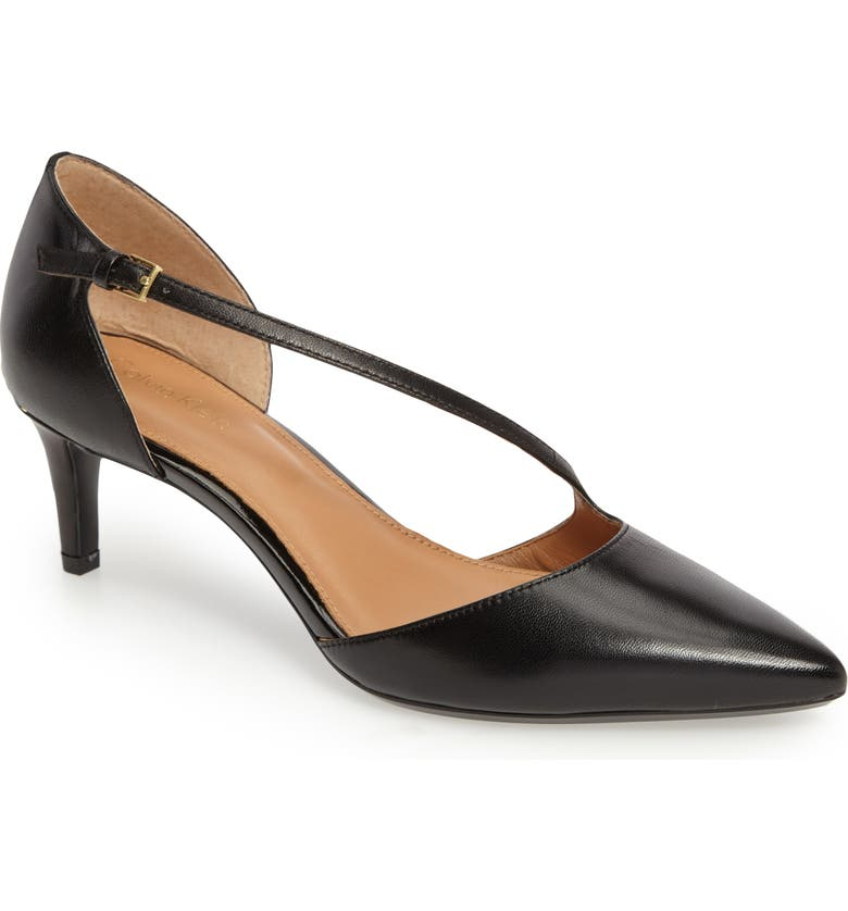 CALVIN KLEIN Page Pointy Toe Pump, Main, color, BLACK LEATHER