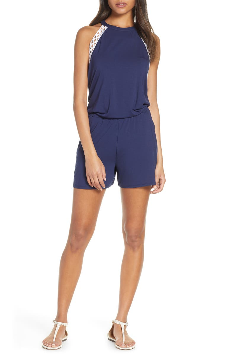 LILLY PULITZER<SUP>®</SUP> Lala Sleeveless Romper, Main, color, TRUE NAVY
