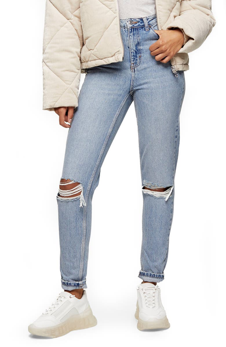 TOPSHOP Double Ripped Mom Jeans, Main, color, BLEACH