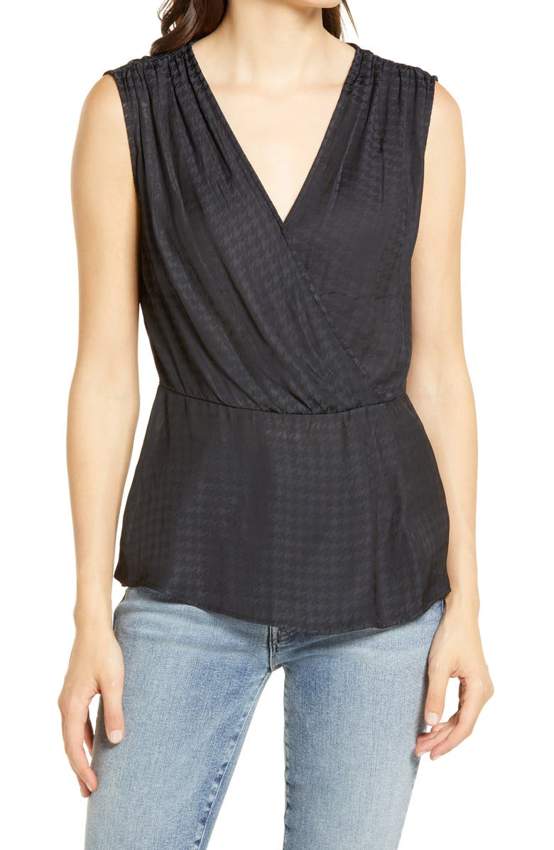 CHELSEA28 Houndstooth Satin Drape Top, Main, color, 001