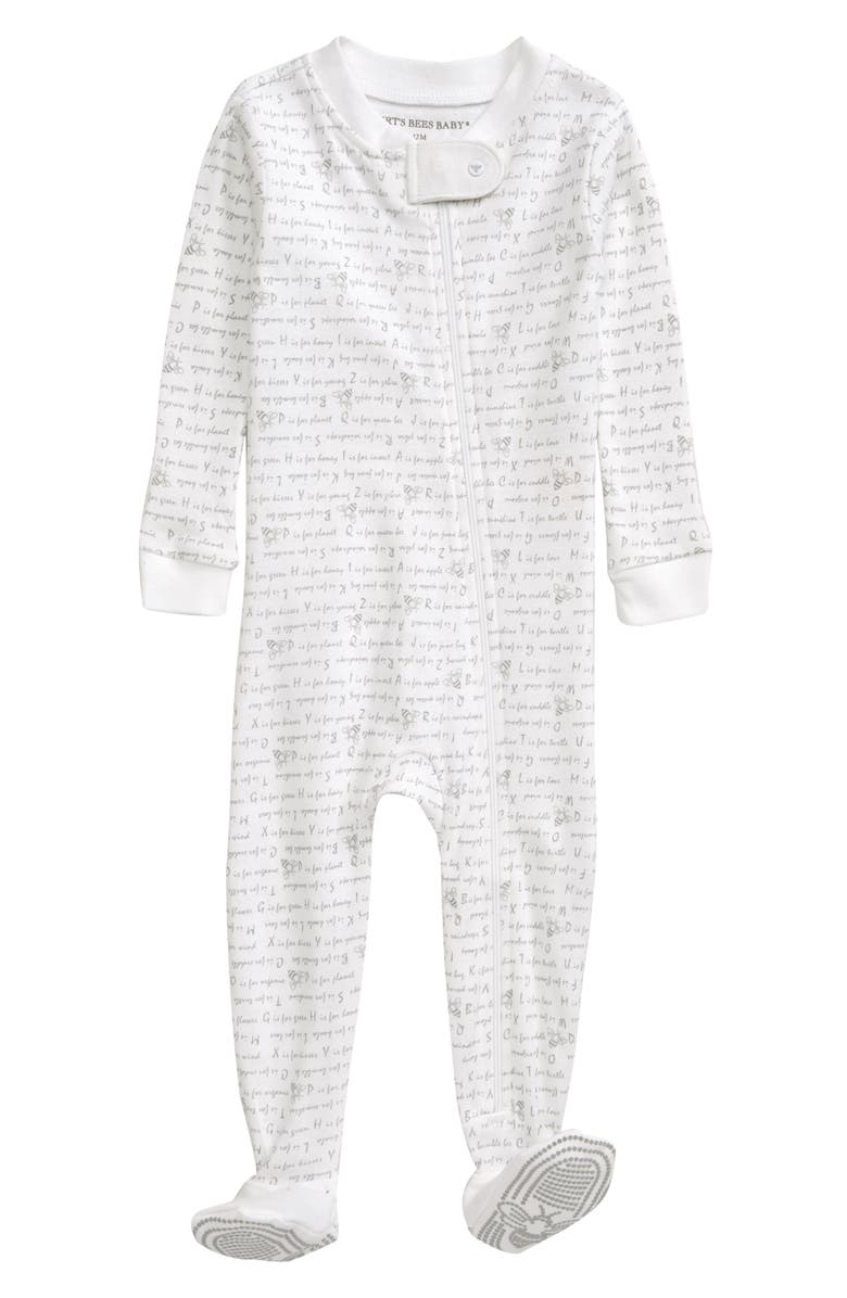 BURT'S BEES BABY Alphabet Bee Fitted One-Piece Footed Pajamas, Main, color, 050