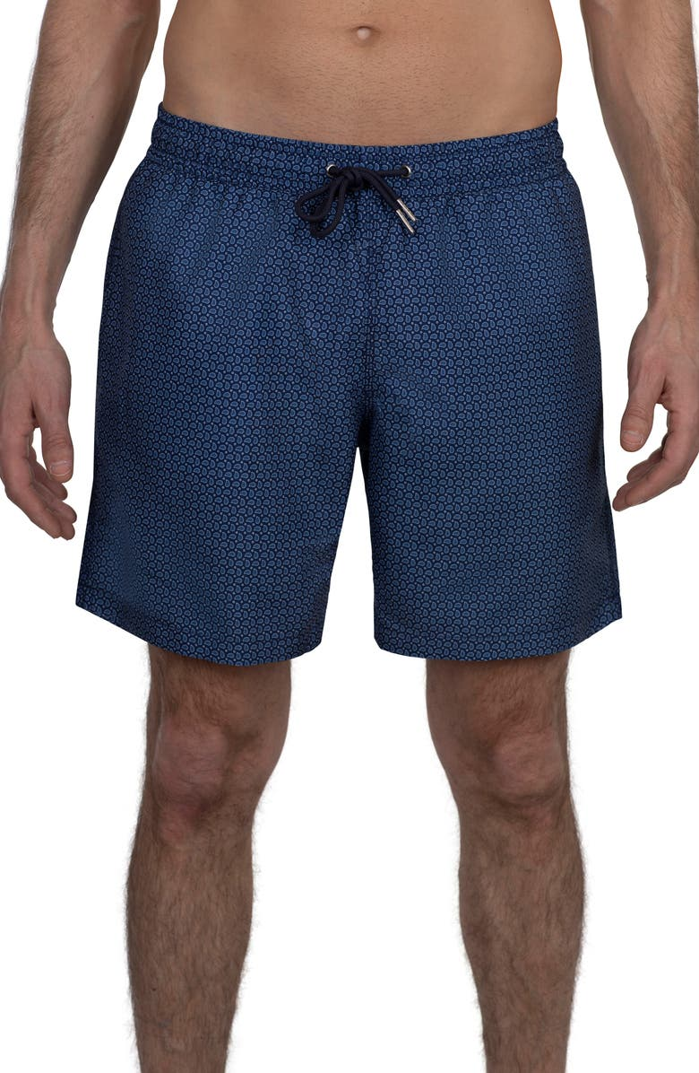 """SLATE AND STONE Lightweight 6"""" Swimming Trunks, Main, color, NAVY PAISLEY PRINT"""