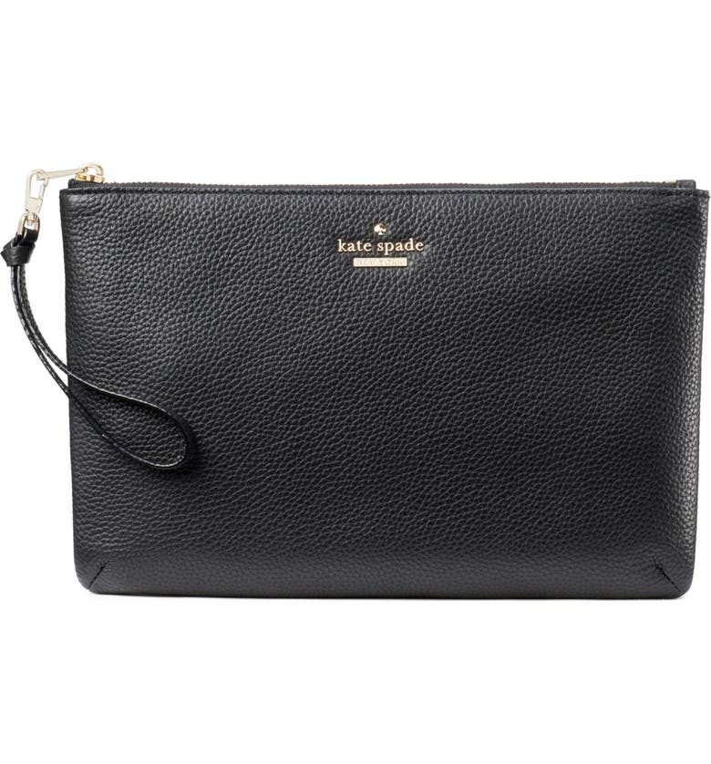 KATE SPADE NEW YORK jackson street – finley quilted leather clutch, Main, color, BLACK