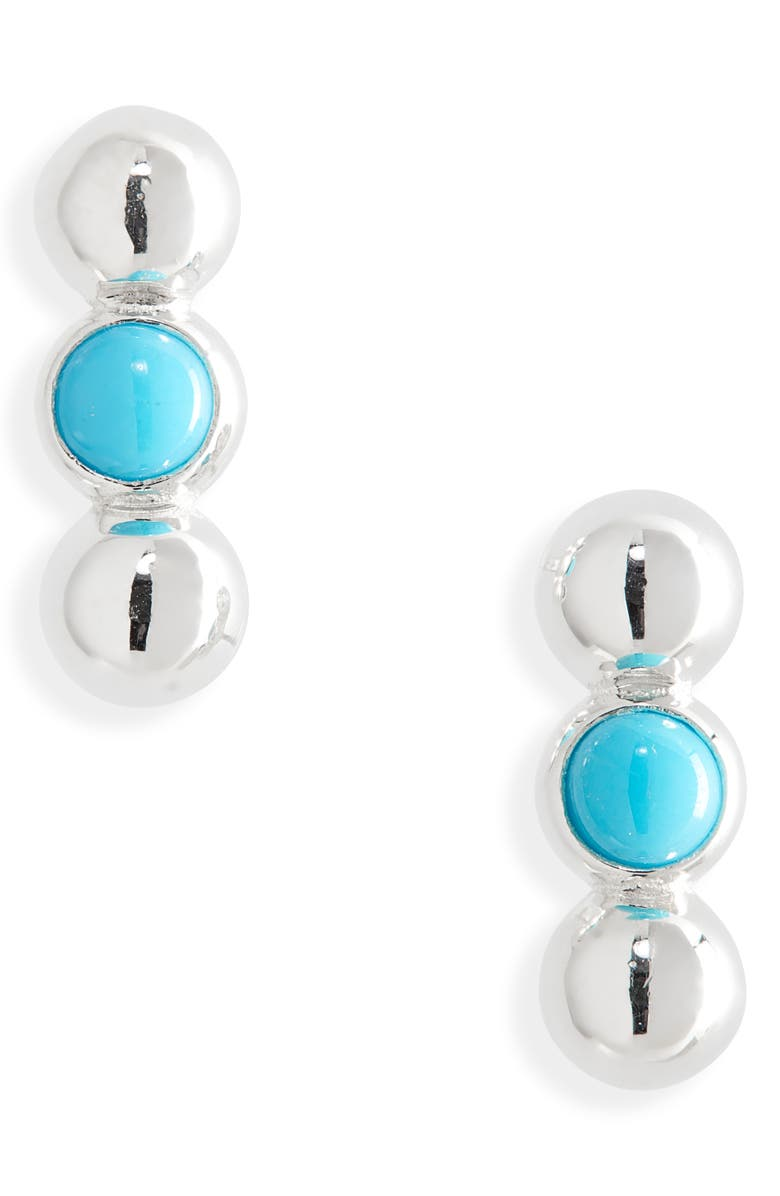 ANZIE Dew Drop Turquoise & Silver Stud Earrings, Main, color, Silver