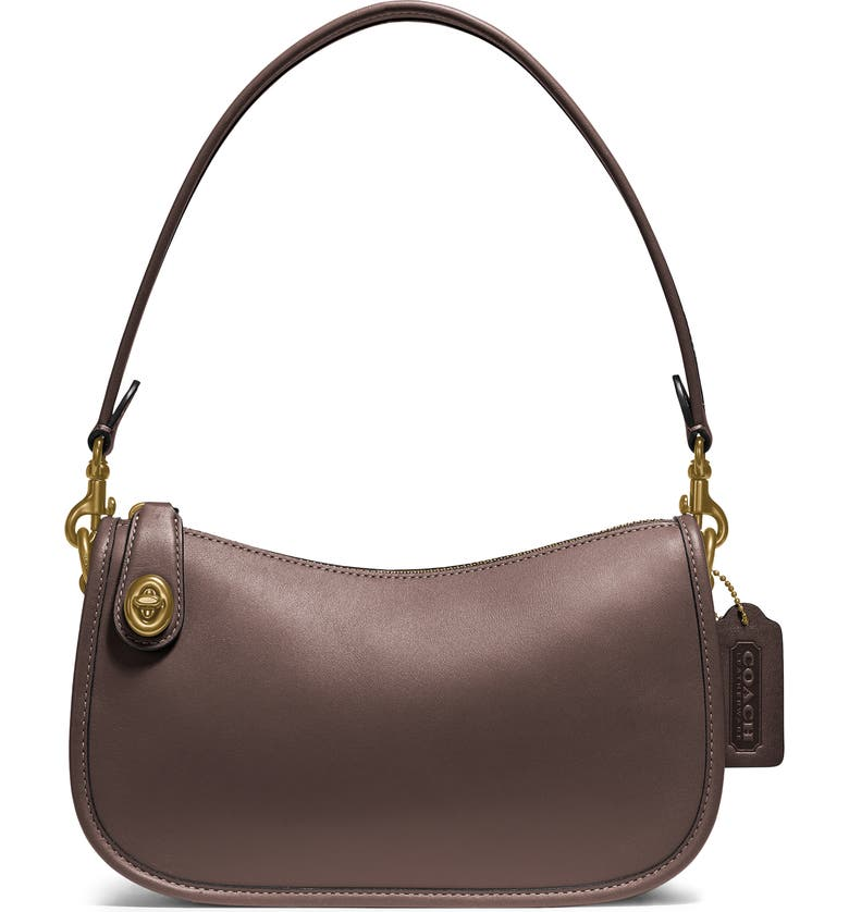 COACH Swinger Convertible Leather Crossbody Bag, Main, color, BRASS/ MAPLE