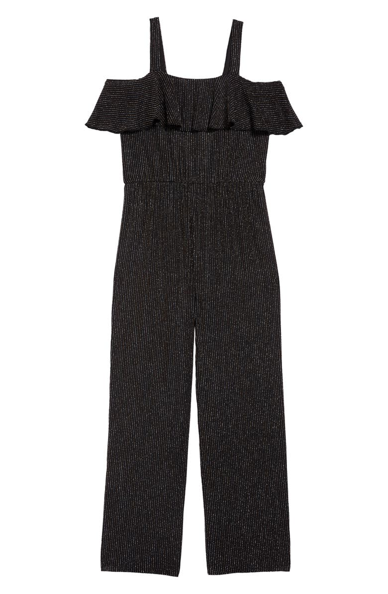 LOVE, NICKIE LEW Glitter Ruffle Jumpsuit, Main, color, 001